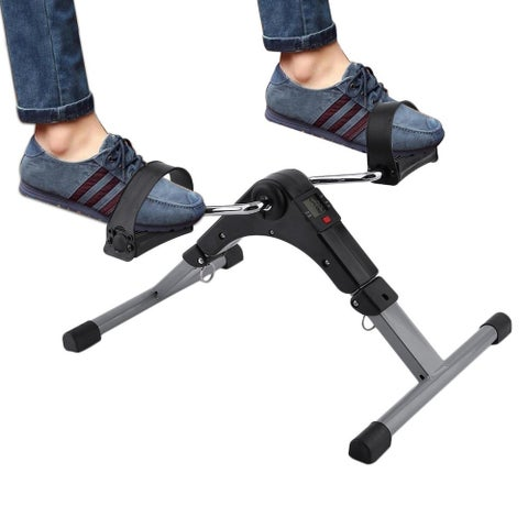 Folding Pedal Exerciser Bike Digital LED Screen Display Cycle Leg Machine - Black & Silver