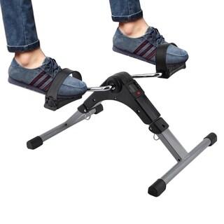 Folding Pedal Exerciser Bike Digital LED Screen Display Cycle Leg Machine - Black & Silver