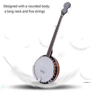Five String Banjo Round Size Mahogany Resonator Stringed Musical Instrument - White