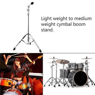 Double Braced Legs Lightweight Drum Cymbal Boom Stand Anti-Slip Hardware Set - silver
