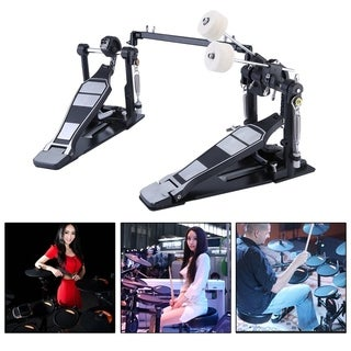 Classic Drum Pedal Dual Foot Kick Pedal Tension Spring And Single Chain Drive - Black & Silver