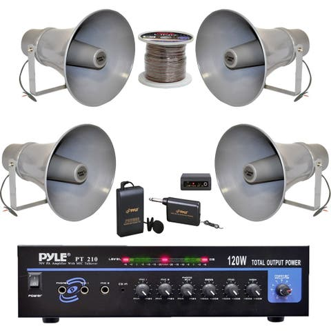 Pyle PT210 Mono 120W Amplifier, 11in. PA Horn Speakers, Wire, Mic System Bundle