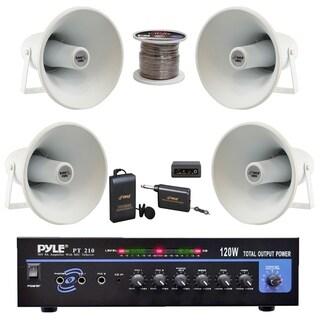 """Pyle 9.4"""" PA Horn Speakers, 120W Amplifier,Lavalier Mic,100Ft Wire"""