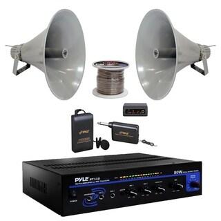 """Pyle 19.5"""" 100W PA Speakers, 100Ft. Speaker Zip Wire, Mic Set, PA Mono Amplifier"""
