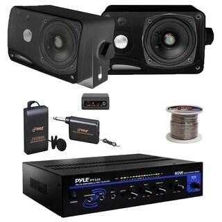"Pyle PT110 Mono Amplifier, PLMR24B - 3.5"" Mini Speakers, Lavalier Mic Set, Wire"