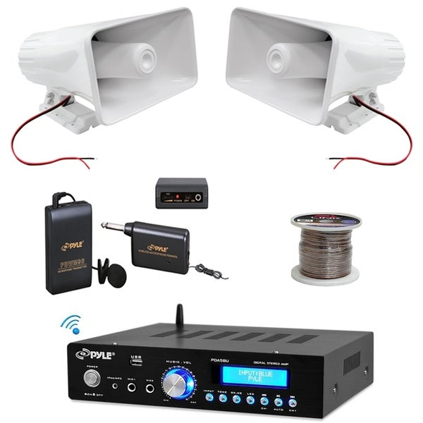 pyle bluetooth stereo amplifier compact amp receiver pa horn speakers  wireless microphone system and 100 ft