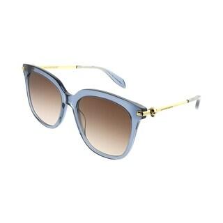 Alexander McQueen Square AM 0107S Iconic 005 Women Blue Frame Brown Gradient Lens Sunglasses