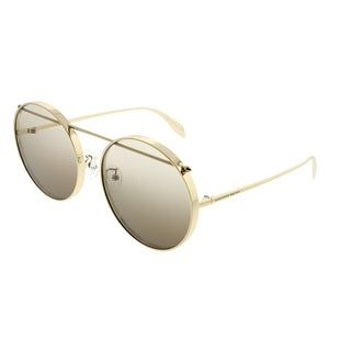 Alexander McQueen Round AM 0137SA Edge 001 Unisex Gold Frame Brown Gradient Lens Sunglasses