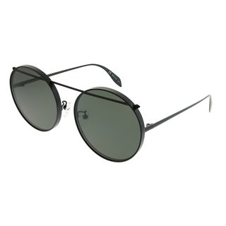 Alexander McQueen Round AM 0137SA Edge 002 Unisex Black Frame Grey Lens Sunglasses