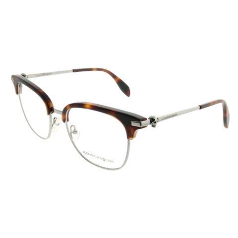 Alexander McQueen Square AM 0152O Iconic 003 Unisex Havana Ruthenium Frame Eyeglasses
