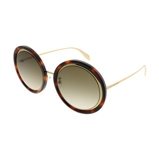 Alexander McQueen Round AM 0150S Edge 003 Women Havana Gold Frame Brown Gradient Lens Sunglasses
