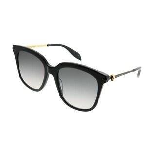 Alexander McQueen Square AM 0107S Iconic 001 Women Black Frame Grey Gradient Lens Sunglasses