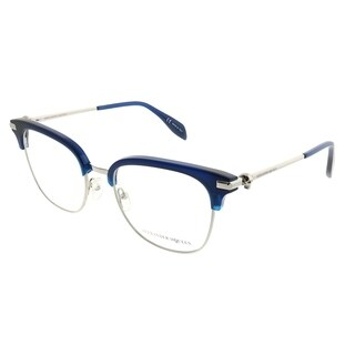 Alexander McQueen Square AM 0152O Iconic 004 Unisex Blue Silver Frame Eyeglasses