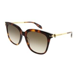 Alexander McQueen Square AM 0107S Iconic 002 Women Havana Frame Brown Gradient Lens Sunglasses