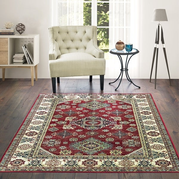 "Westfield Home Lelaliah Remiel Red Faux Silk Accent Rug - 1'11"" x 3'3"""