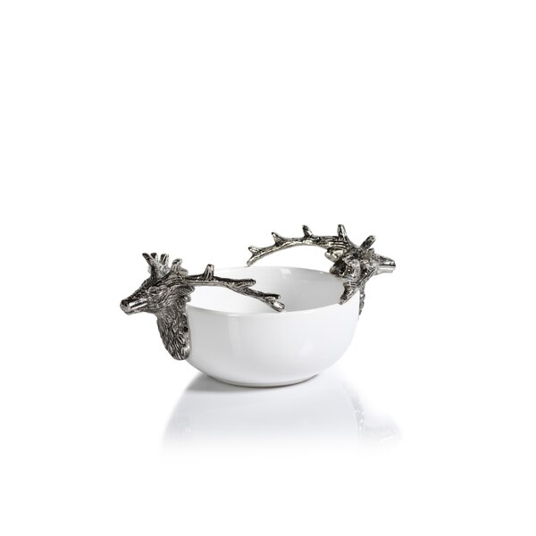 """4.5"""" Tall Ceramic and Metal Small Decorative Bowl, Stagg Head Design"""