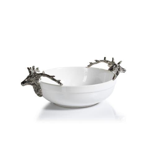 "5"" Tall Ceramic and Metal Medium Decorative Bowl, Stagg Head Design"
