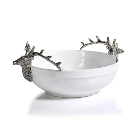 """7"""" Tall Ceramic and Metal Large Decorative Bowl, Stagg Head Design"""