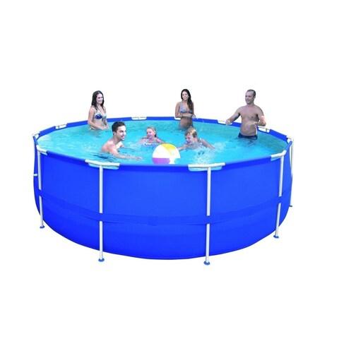 "15' x 48"" Round Blue Steel Frame Above Ground Swimming Pool Set"