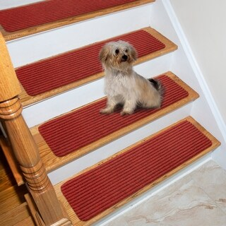 "Lifesaver Scrape Rib Non-Slip Pet Friendly Stair Treads (Set of 13) - 8"" x 30"""