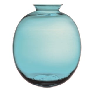 """Majestic Gifts High Quality Glass Balloon Shaped Vase -Turquoise-6"""" H- Made in Europe"""