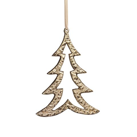 "6.25"" Tall Aluminum Christmas Tree Ornament, Gold (Set of 6)"