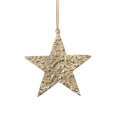 "8"" Tall Aluminum Large Christmas Star Ornament, Gold (Set of 6)"