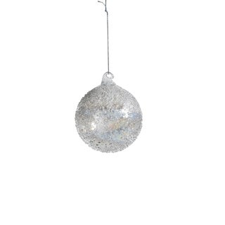 "3"" Tall Glass Luster Beaded Small Christmas Ball Ornament, White (Set of 6)"