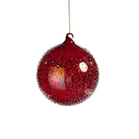 "4.75"" Tall Glass Luster Beaded Large Christmas Ball Ornament, Red (Set of 4)"