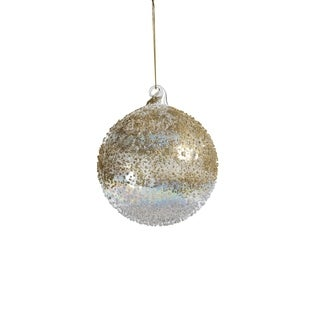 """4"""" Tall Glass Luster Beaded Medium Christmas Ball Ornament, Clear and Gold (Set of 6)"""