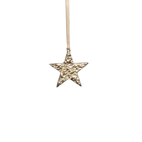 "4"" Tall Aluminum Small Christmas Star Ornament, Gold (Set of 6)"