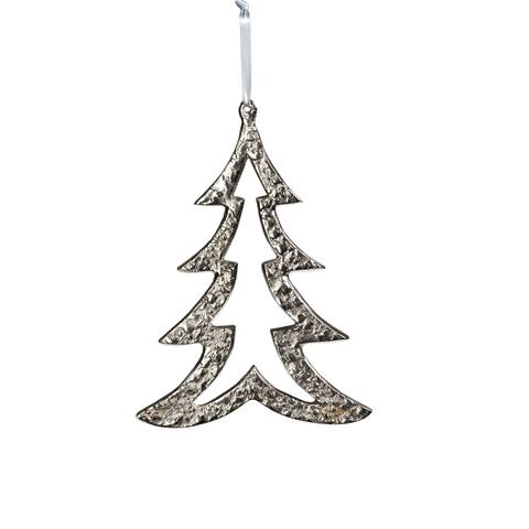 "6.25"" Tall Aluminum Christmas Tree Ornament, Silver (Set of 6)"