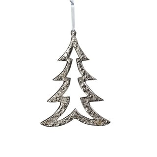 "Link to 6.25"" Tall Aluminum Christmas Tree Ornament, Silver (Set of 6) Similar Items in Christmas Decorations"