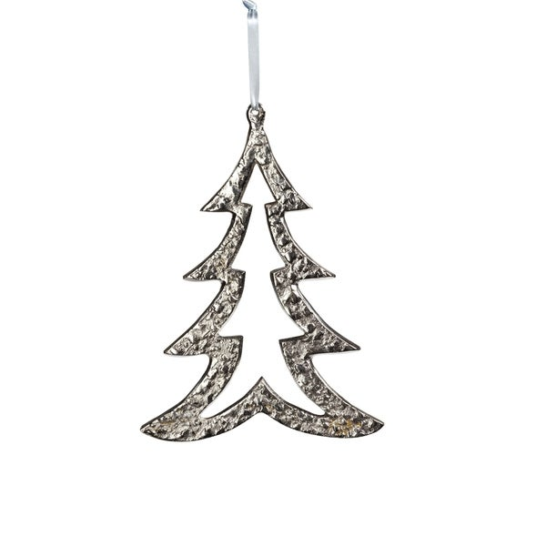 "6.25"" Tall Aluminum Christmas Tree Ornament, Silver (Set of 6). Opens flyout."