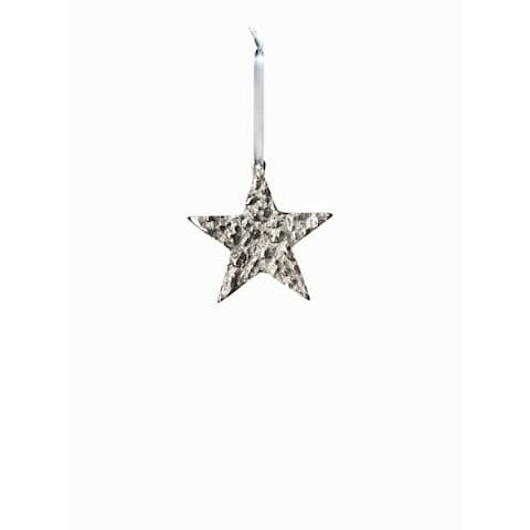 "4"" Tall Aluminum Small Christmas Star Ornament, Silver (Set of 6)"