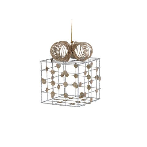 """6.25"""" Tall Christmas Gift Box Large Ornament, Silver and Champagne (Set of 4)"""
