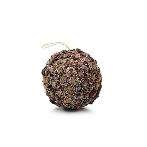 "8"" Tall Flower Cut Pinecone Christmas Ball Ornaments, Brown"