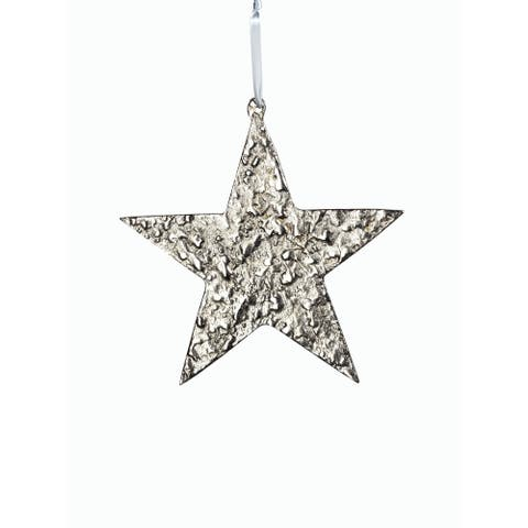 "8"" Tall Aluminum Large Christmas Star Ornament, Silver (Set of 6)"