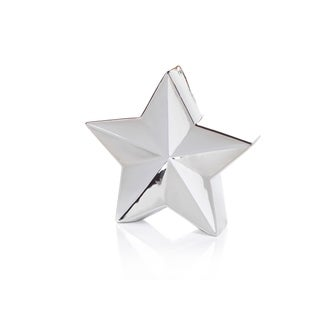 "9.25"" Tall 5-Point Christmas Star Tabletop Decor, Silver (Set of 2)"