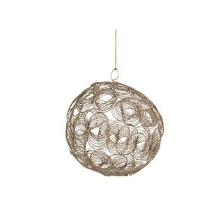 "6"" Tall Christmas Ball Ornament, Overlapping Circular Pattern, Champagne (Set of 6)"