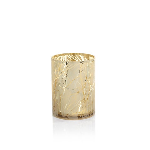 "9.5"" Tall Glass LED Hurricane, Gold Plated Branch Design, Light Gray"