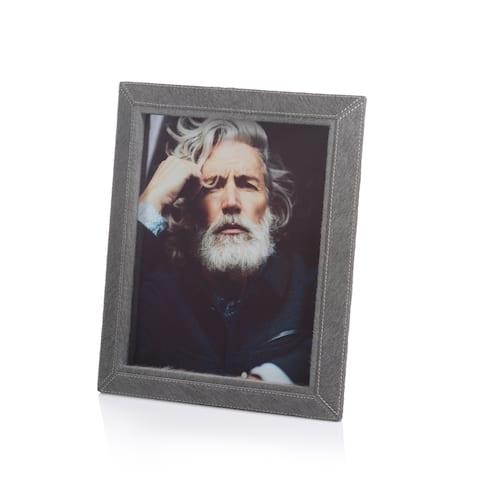 """Aspen Feel"" Hair on Leather 8"" x 10"" Photo Frame, Gray"