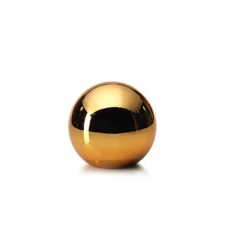 "5.5"" Tall Ceramic Fill Decorative Christmas Ball, Gold (Set of 3)"