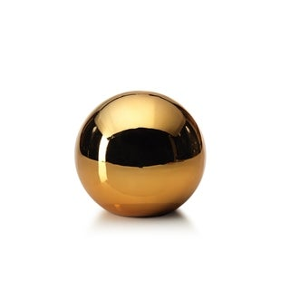 "6.5"" Tall Ceramic Fill Decorative Christmas Ball, Gold (Set of 2)"
