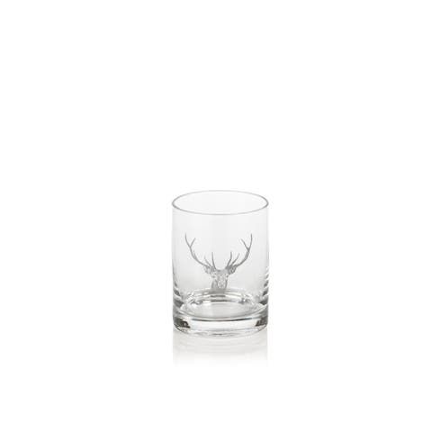 "4.5"" Tall Double Old Fashioned Glasses, Stag Head Design, Clear (Set of 6)"