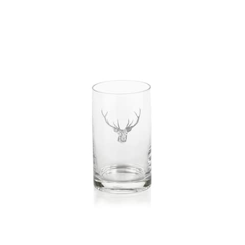 "6.5"" Tall Highball Glasses, Stag Head Design, Clear (Set of 6)"