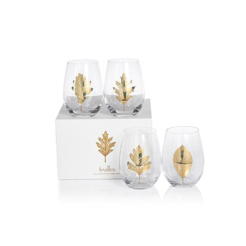 """5"""" Tall """"Feuilles"""" Glass Stemless Wine Glass, Clear and Gold (Set of 4)"""
