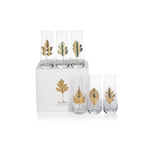 """5.75"""" Tall """"Feuilles"""" Glass Stemless Flute, Clear and Gold (Set of 6)"""