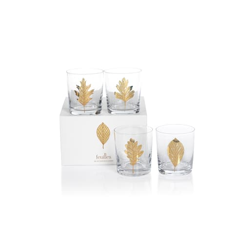 "4"" Tall ""Feuilles"" Glass Rock Glass, Clear and Gold (Set of 4)"