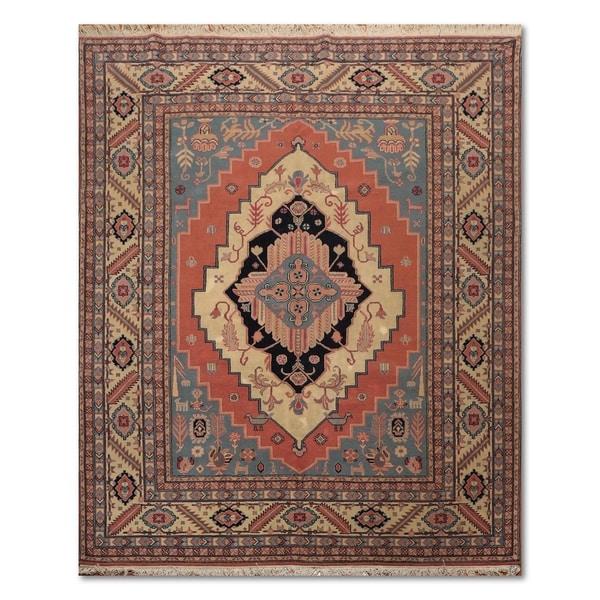 100 Wool Persian Area Rug: Shop Medallion Bidjar Romanian Hand-Knotted 100% Wool